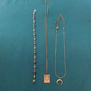 Accessories - Evil eye bracelet + set of 2 necklaces